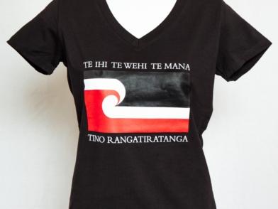 Tino Rangatiratanga Maori Flag - wahine v neck fitted tee